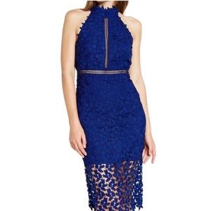 Bardot Gemma Blue Lace Halter Dress NWOT